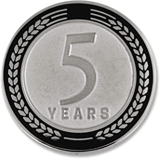 PinMart 5 Years of Service Award Employee Recognition Gift Lapel Pin - Black