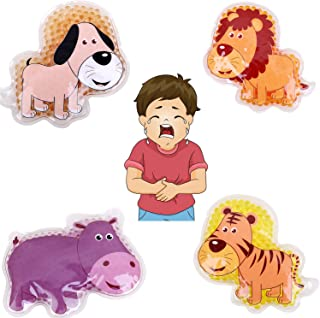 "FOMI Kids Fun Pain Relieving Hot Cold Boo Boos Ice Packs. 4-Pack. Animal Designs. Multi-Use Children's Gel Bead Pack for Neck, Knee, Ankle, Arm, Hand, Thigh, Leg. (4"" x 3"" Each)"