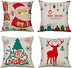 MIULEE Pack of 4 Pillow Covers Decorative Soft Pillowcases Merry Christmas Cushion Cover Sham for Sofa Bedroom Car 18x18 Inch (Christmas Tree, Santa Claus, Jingling Bell, Reindeer)