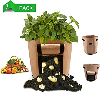 LEHOUR Potato Grow Bags, Planter Bag 7 Gallon, Garden Bags for Vegetable, Fabric Planting Pots with Handles, Potato Planter Bag with Access Flap, Breathable Nonwoven Growing Gags, 3 Pack Light Brown