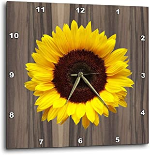 """3dRose dpp_181827_1 Wood Image with Sunflower Wall Clock, 10 by 10"""""""