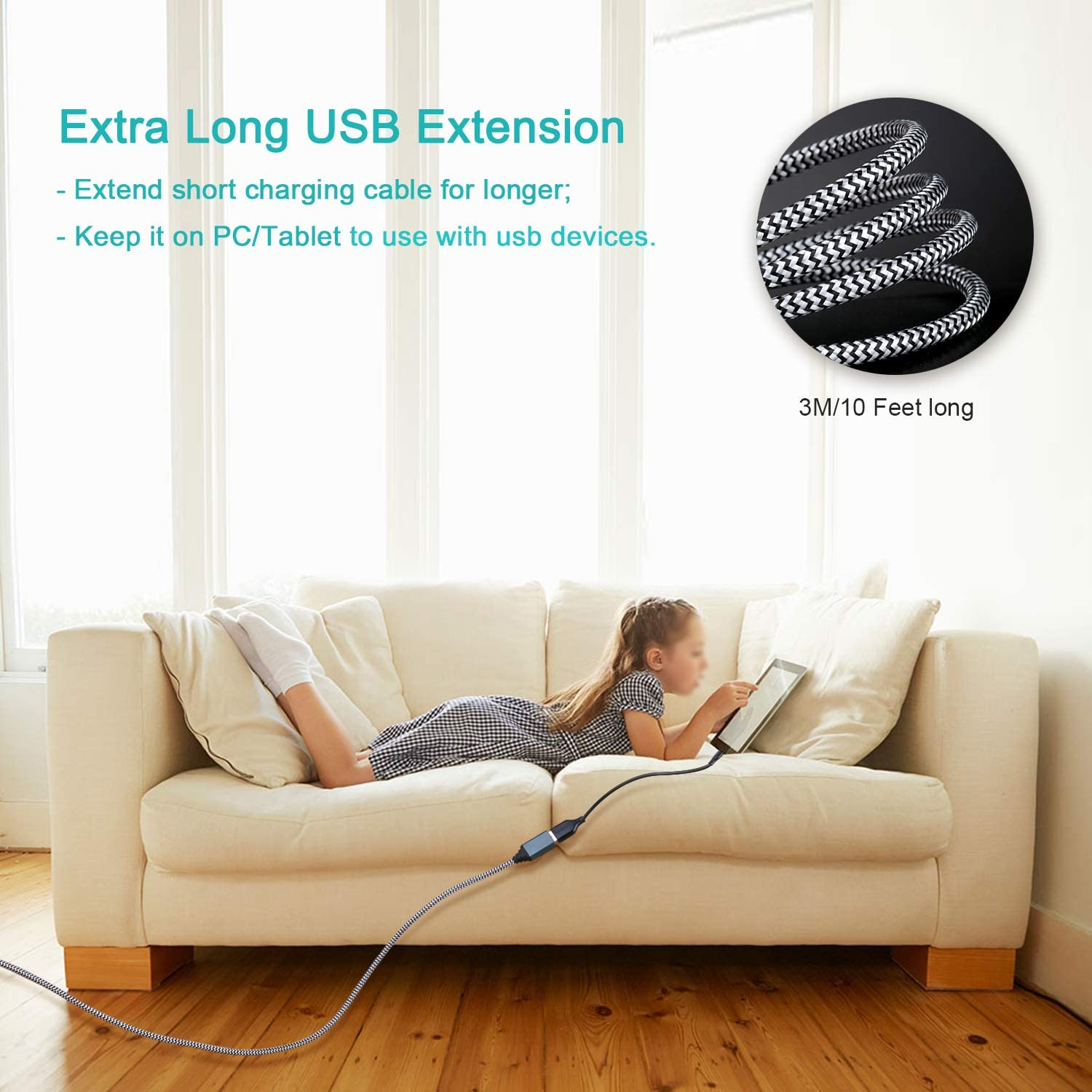 USB Cable Extension, Besgoods 2-Pack 10Ft USB 3.0 Extension Cable Braided USB Extender Cable - A Male to A Female with Metal Gold-Plated Connector, White