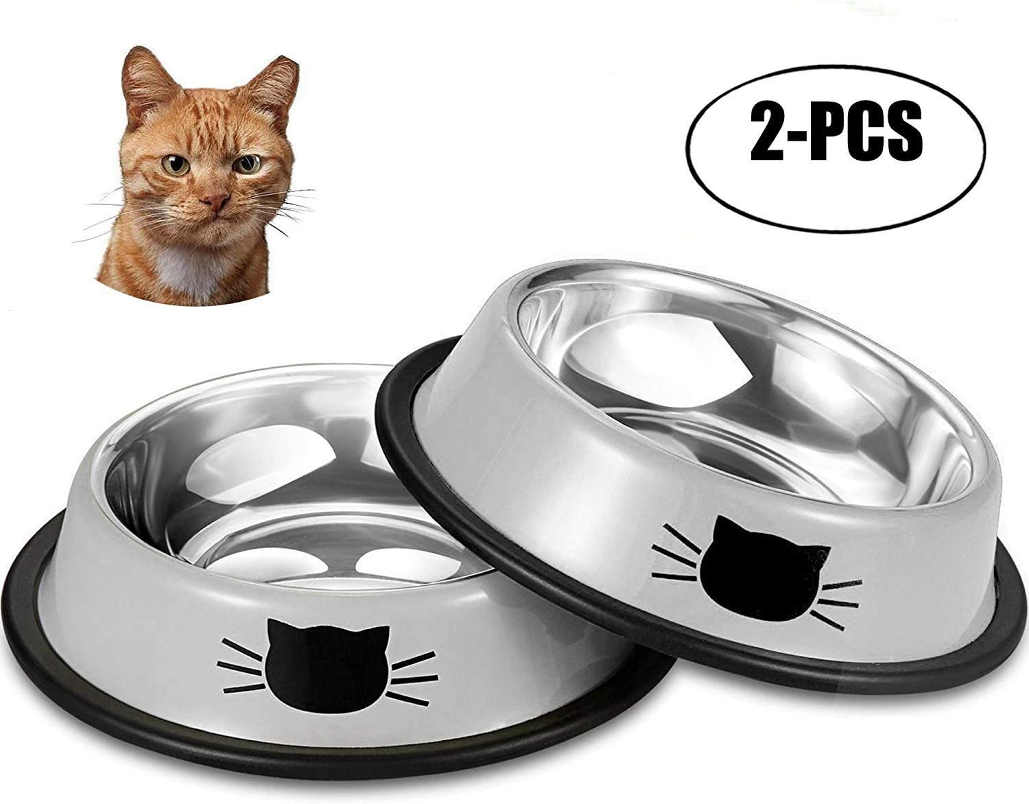 Sportgirls Cat Bowls Stainless Steel Pet Cat Food Bowl Water Bowl Feeding Bowl Kitten Bowl Puppy Dish Bowl With Non Skid Bottom For Small Dogs Cats 11 5 15 5 3 5 Cm Amazon Co Uk