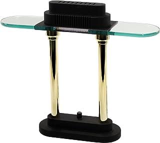 LEDU Halogen Desk Lamp, 15-Inch Height, Black/Brass Poles (L9074)