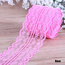 UKCOCO Lace Ribbon,Vintage Lace Trim,Ribbon Lace Roll for Wedding//Party//Easter//Carriage//Flowers//Vases Car Jewelry,15CM 22M,Pink