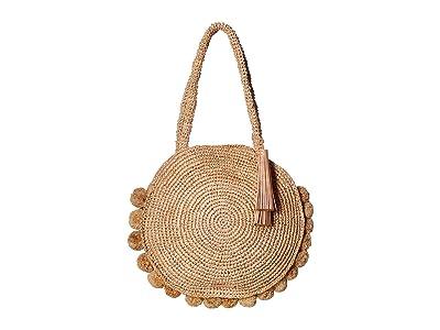 Loeffler Randall Fallon Large Straw Circle Tote (Natural) Handbags