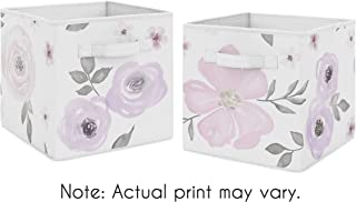 Sweet Jojo Designs Lavender Purple, Pink, Grey and White Organizer Storage Bins for Watercolor Floral Collection - Set of 2 - Rose Flower