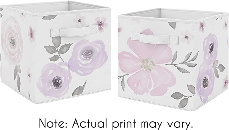 Sweet Jojo Designs Lavender Purple Pink Grey And White Organizer Storage Bins For Watercolor Floral Collection Set Of 2 Rose Flower