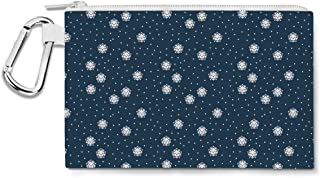 Kawaii Winter Snowflakes Canvas Zip Pouch - Multi Purpose Pencil Case Bag