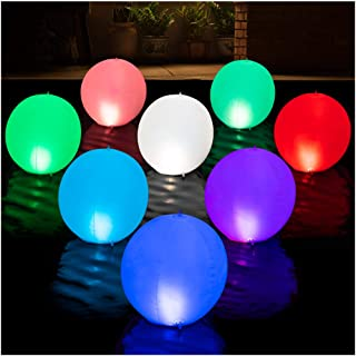 HAPIKAY Solar Floating Pool Lights - Pack of 2 Solar Powered Color Changing 14-inch Balls - Float or Hang in Pool Garden B...