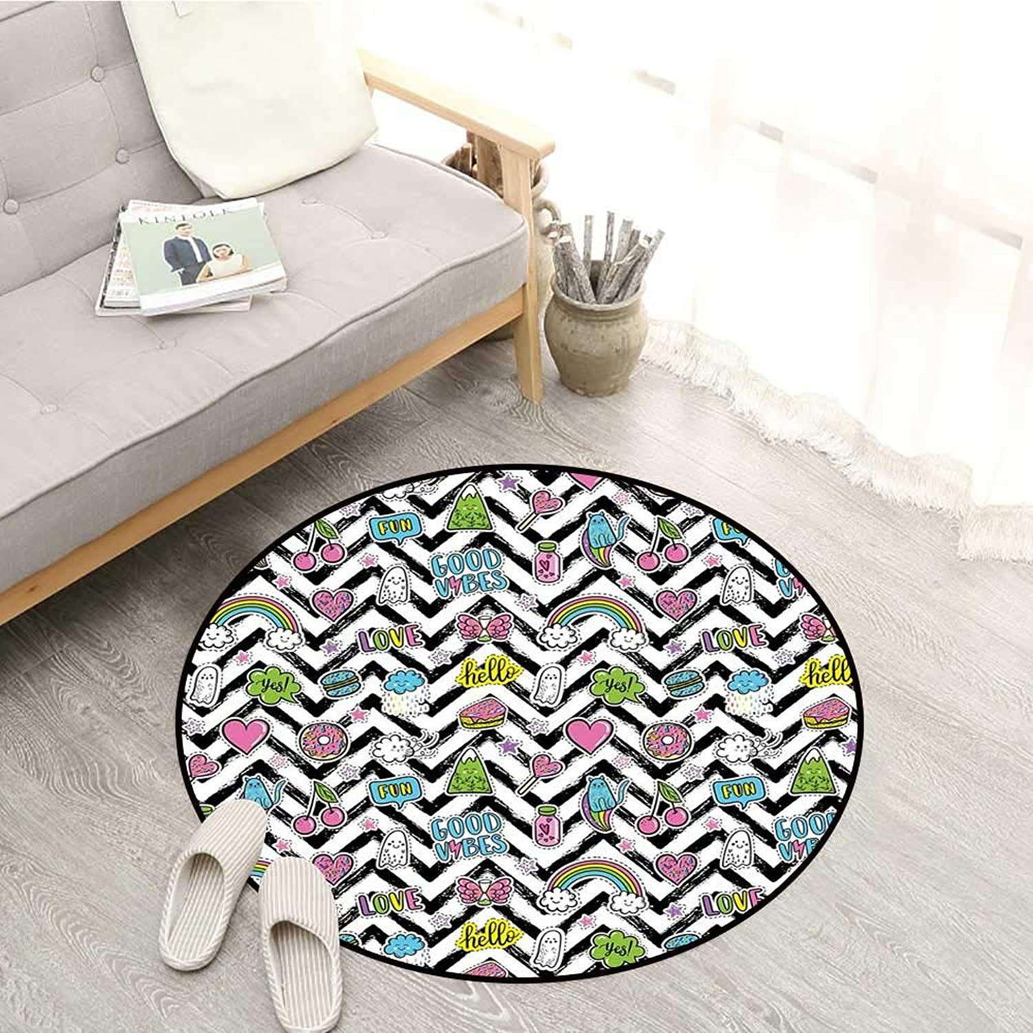 Good Vibes Living Room Mat Black Zigzags with colorful Cartoon Figures Cute Clouds Rainbow Ghost and Sweets Rustic Home Decor 4'11  Multicolor