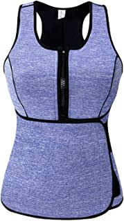 SlimmKISS Neoprene Sweat Vest for Women, Slimming Body Shaper with Adjustable Waist Trimmer Belt, Weight Loss, Womens, New Blue, Medium