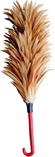 i-Broom Real Chicken Feather Duster, Rooster Chicken Feather Duster, Wood Feather Brush, Feather Brush, Chicken Brush, L Natural Brown (5