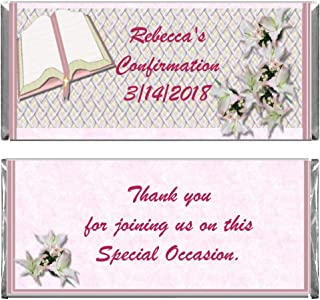Pink Girl Baptism Confirmation First Communion Personalized Custom Wrappers & Foils for Chocolate Candy Bars (200)