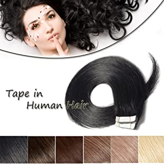 16 18 20 22 Inch Tape in Human Hair Extensions 100% Remy Straight Human Hair Professional Seamless Tape Skin Weft Extensions 20pcs 50g/pack Natrual Jet/Dark Black(16'',#1)+ 10pcs Free Tapes