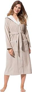 Morgenstern Accappatoio da Donna con Cappuccio in Puro Cotone Lunga Vestaglia Taglia XS-XL