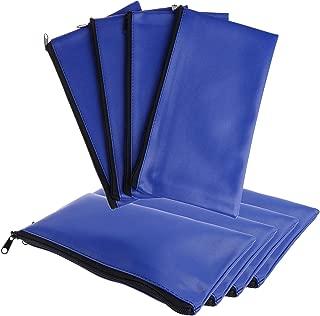 Xgood 8 Pieces Bank Deposit Money Bag Leatherette Securit Vinyl Blue Zipper Pouches Wallet Utility Zipper Coin Bags for Cash Money,11x6in