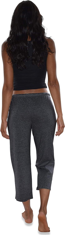 Sexy Basics Women's 3 Pack Soft Flex-Cotton Knit Pajama Pants/Lounge Pants/Sleep Pants - Capri -Yoga Style Pant