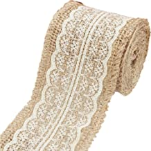 PIXNOR Natural Jute Lace Burlap Rolls Ribbon Crafts Home Wedding Christmas Decor M Cm Beige ,White