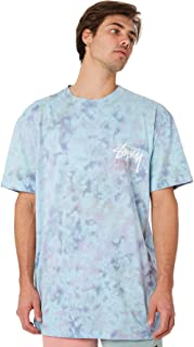 Stussy Men's Tribe Tie Dye Mens Tee Crew Neck Short Sleeve Cotton Jersey Yellow