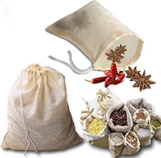 kingleder 12Pack Reusable Drawstring Cotton Soup Bags, Straining Herbs Cheesecloth Bags, Coffee Tea Brew Bags, Soup Gravy ...