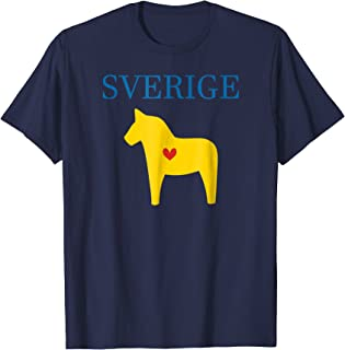 Swedish Dala Horse T-shirt Midsommar Heart Sverige T Shirt
