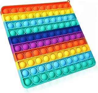 Big Pop It Fidget Toys Pop Jumbo 100 Bubbles Popit Popits Poppet Push Pop Bubble Fidget Popping Sensory اسباب بازی های بزرگ Fidget Popper اسباب بازی رنگین کمان فیجت پوپرها مگا بزرگ ، 8 اینچ برای پسران دختر