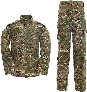 LANBAOSI Men's Tactical Jacket and Combat Trousers Set Camo Woodland Hunting ACU Military Uniform