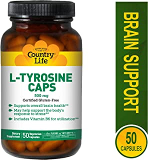 Country Life L-Tyrosine Caps, 500 mg with B-6, 50-Count