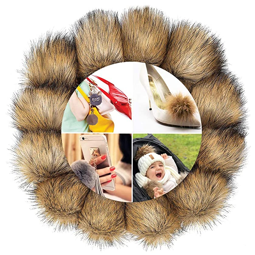 12 Pack DIY Faux Fox Fur Fluffy Pompom Ball for Knitting Hats, Shoes, Scarves, Keychains and Bag Charms 4 inch