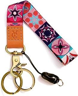 Wrist Lanyards Key Chain Holder Premium Quality Wristlet Keychain for Women (Bohemian red)