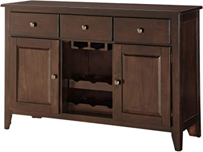 Benzara BM190185 Wooden Server with Drawers and Two Door Cabinets, Brown