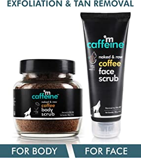 mCaffeine Coffee Exfoliation & Tan Removal Combo   Body Scrub, Face Scrub   Oily/Normal Skin   Paraben & SLS Free