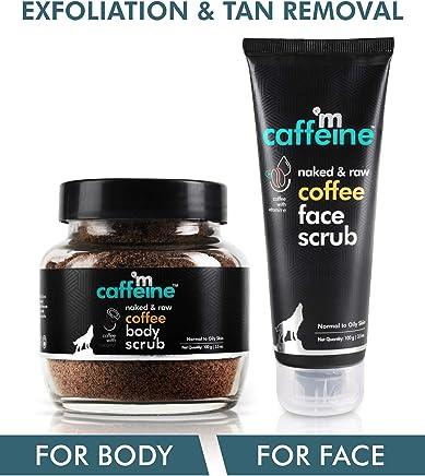 mCaffeine Coffee Exfoliation & Tan Removal Combo | Body Scrub 100gm, Face Scrub 100gm| Oily/Normal Skin | Paraben & SLS Free