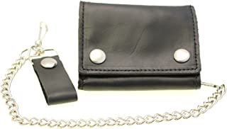 Men's Large Trifold Biker Wallet With A Chain Oil Tanned Leather Made In USA