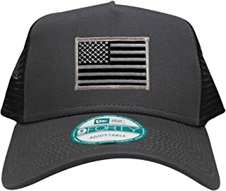 New Era 9FORTY 5 Panel USA Flag Patch Snapback Trucker Cap - Graphite