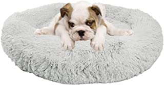 Clothink Donut Dog Bed, Faux Fur Marshmellow Cat Bed, Self Warming Cuddler Washable Round Pet Bed for Medium Dogs and Cats...