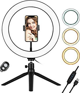 Andoer 10 Inch LED Ring Light with Tripod Stand Phone Holder Remote Control 3200K-5500K Dimmable Table Camera Light Lamp 3...