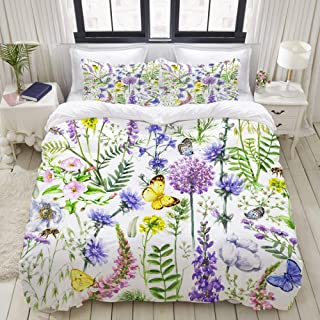 """Mokale Bedding Duvet Cover 3 Piece Set - Wildflowers and Butterflies Pattern - Decorative Hotel Dorm Comforter Cover with 2 Pollow Shams - Full 80""""x90"""""""