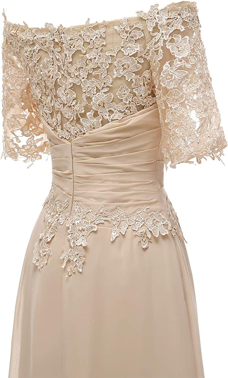 Lace Mother of The Bride Dress with Sleeves Off Shoulder Formal Evening Dress for Wedding Party Chiffon Gown