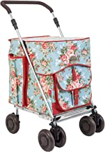 Sholley Deluxe Shopping Trolley, Grocery Cart Utility Cart 4 Wheels Light and Easy to Push, Foldable, Height & Angle Adjustable Handle, Strong & Stable Aids Walking, Mens & Ladies Design (Chelsea)