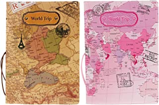 Perfk Pack Of 2 Pink+Brown PU Leather Passport Cover Protector 100 X 140mm