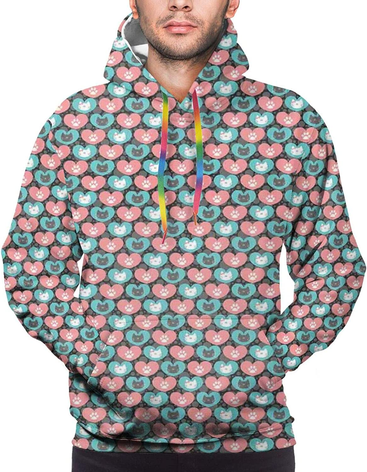 Men's Hoodies Sweatshirts,Cute Cat Faces with Dotted Whiskers Kittens Animals Kids Nursery Theme Picture
