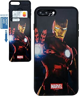 [iPhone 7 Plus Wallet Case/iPhone 8 Plus Wallet Case] KUBRICK Card Holder Slide Cover Bumper Phone Case Dual Layer Protection UV Printing (Iron Man, Mark 3)