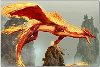 Canvas Wall Art Painting Picture - Flaming Dragon On A Rock Cliff Modern Artwork for Living Room Wall Decor and Home Decoration Framed Ready to Hang 6