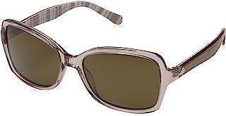 Kate Spade Women's Ayleenps Polarized Rectangular Sunglasses, Beige Stripe White/Brown, 56 mm