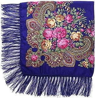 Russian Winter Scarf Square B ana Cotton Print Tassel Wrap Hijab H Kerchief Shawl Scarves for Women