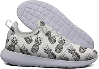 White Pineapple Painting Print Basketball Sneakers for Men Low Top Quick-Drying Air Running Shoes
