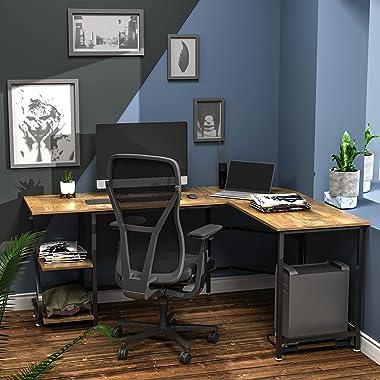 Anivia Bureau réversible en forme de L avec étagères, grande table de jeu pour la maison, le bureau, la station de travail