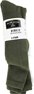 Military Style Men's Anti-Microbial Boot Socks - OLIVE DRAB - 3 PAIR
